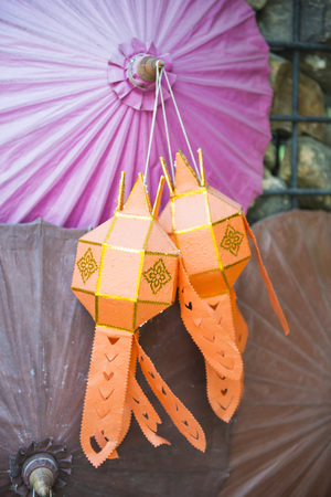 handcraft: beautiful paper lantern and umbrella from northern thailand, handcraft