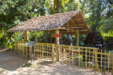 baler: antique turbine baler in countryside, Thailand