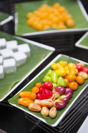 lug: delicious thai dessert called Lug - chube with various sweet dessert, food