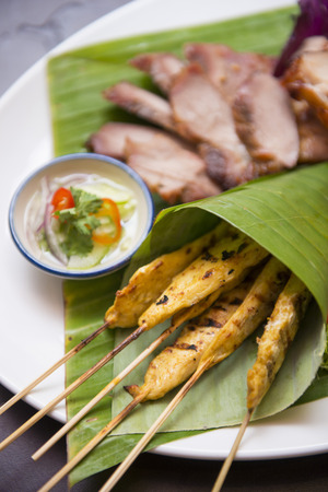 chicken satay: chicken satay and charcoal-boiled pork neck, food