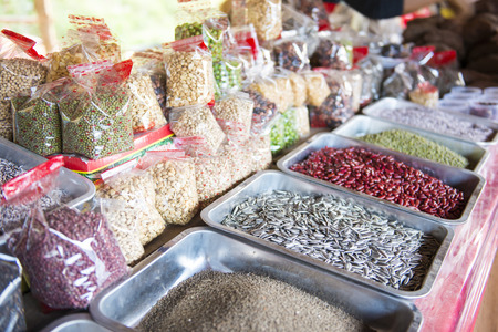 nutrients: whole grains in shop at market, nutrient Stock Photo