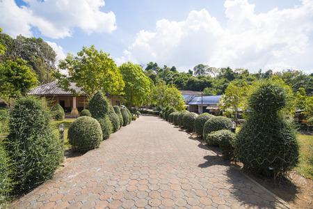 Backsteinweg im Garten, Haus