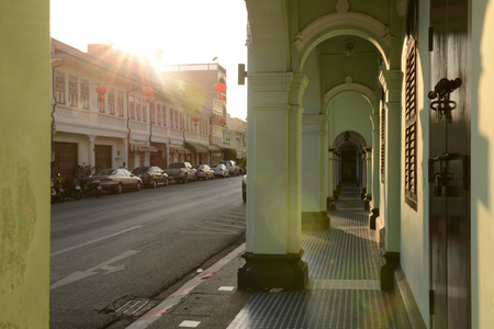 converted: PHUKET, THAILAND - FEBRUARY 26, 2016 : Old Phuket Town is Sino-Portuguese buildings on both sides of the street. Many old buildings have been converted into shops, hotels, restaurants and museums on February 26, 2016, Thailand