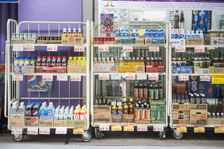TOKYO, JAPAN - FEBRUARY 20, 2016 : various beverage on shelf in retail shop for sale at Japan on February 20, 2016, store