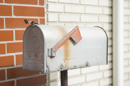 by mail: old metal mail box, post Stock Photo