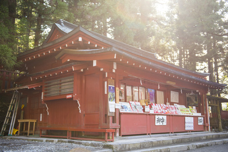 souvenir traditional: NIKKO, JAPAN - FEBRUARY 22, 2016 : Souvenir shop japanese style in Shrine, traditional