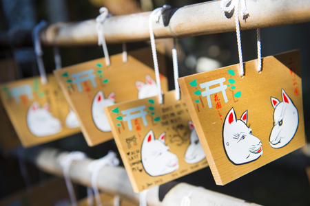 ema: UENO, JAPAN - FEBRUARY 19, 2016 : Ema - small wooden plaques for write prayers in Japanese shrine