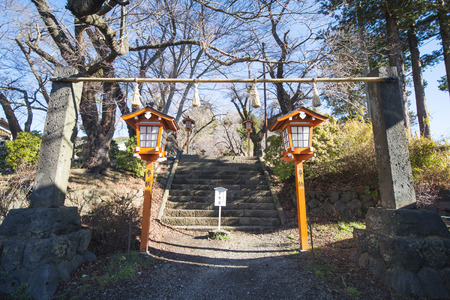 chureito: KAWAGUCHIKO, JAPAN - FEBRUARY 19, 2016 : Path way up to Chureito pagoda viewpoint in Shimoyoshida town, landmark