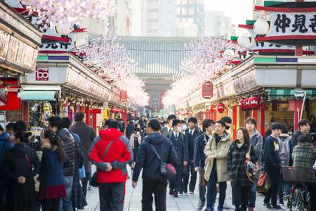 Asakusa - Japan , February 20, 2016 : Nakamise shopping street at Sensoji temple , Japan