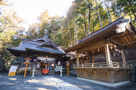 sengen: KAWAGUCHIKO, JAPAN - FEBRUARY 19, 2016 : Arakura Sengen Shrine located near the Chureito Pagoda, landscape