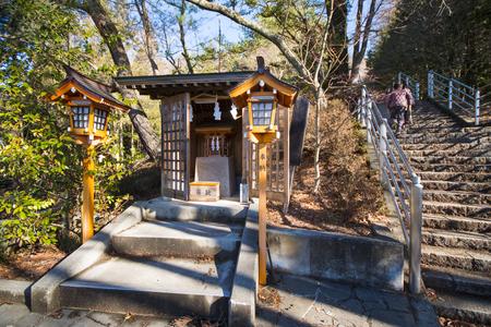 sengen: KAWAGUCHIKO, JAPAN - FEBRUARY 19, 2016 : A small shrine within Arakura Sengen Shrine, landscape