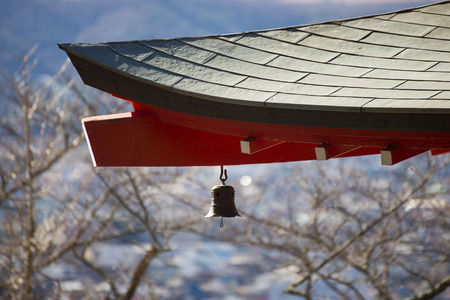 japanese temple: little bell hang on the roof of japanese temple , Japan