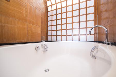 jacuzzi: beautiful modern jacuzzi bathtub, bathroom Stock Photo