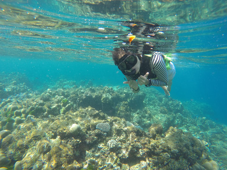 phangnga: girl is snorkeling in Surin Island, Phang-nga, travel Stock Photo