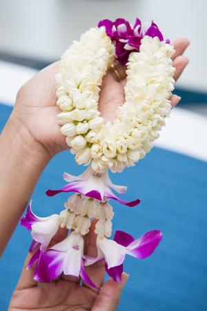 malai: beautiful flower garland in hand, jasmines