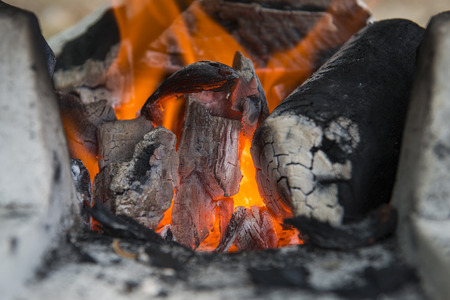 broil: fire burning in the charcoal stove, heat Stock Photo