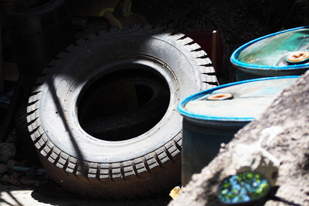 wheeled: Old tires of ten - wheeled truck, garbage Stock Photo
