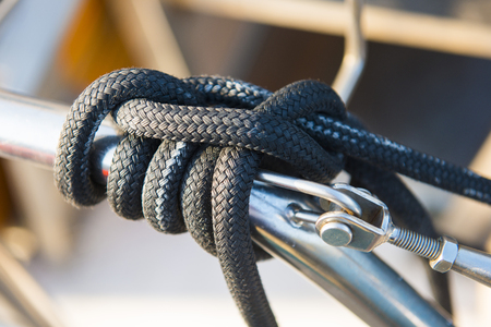 catamaran: Sailing rope on catamaran boat, rope Stock Photo
