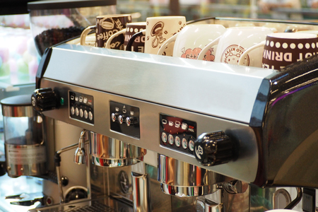 coffee maker machine: coffee maker machine at bar, equipment Stock Photo