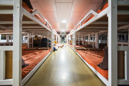 Suratthani, Thailand - June 12, 2016 : bunk beds on ferry boat to Tao Island on June 12, 2016, transportation Editorial