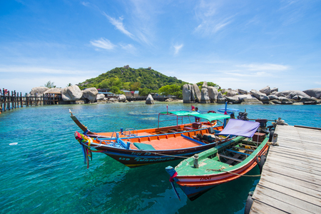 koh tao: Surat Thani , 15 june 2016 :: Thai wooden boat for travel at port in Koh Tao , Thailand