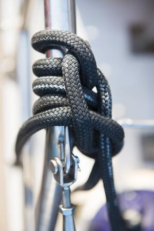 nylons: Sailing rope on catamaran boat, rope Stock Photo