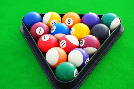 snooker balls: Snooker balls on snooker table, billiard Stock Photo