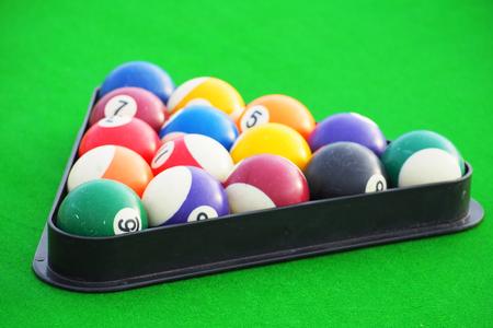 snooker table: Snooker balls on snooker table, billiard Stock Photo