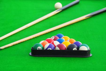 snooker tables: Snooker balls on snooker table, billiard Stock Photo