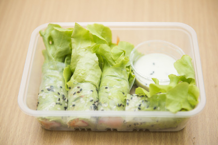 food dressing: Crab salad roll with dressing, clean food meal