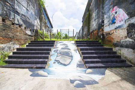 phangnga: Phang-nga, Thailand - July 24, 2016 : street art at Takuapa old town in Phang-nga, landmark