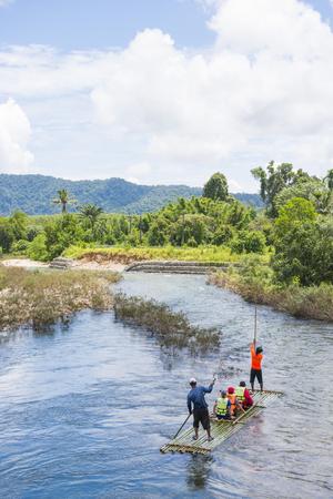 phangnga: Phang-nga, Thailand - July 31, 2016: Bamboo Rafting at Glacier Emerald Kuraburi district, Phang-nga, Thailand Editorial