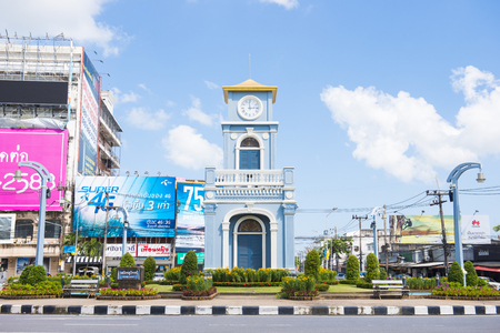 Phuket, Thailand - July 25, 2016 : surin circle clock tower against blue sky and cloud, Landmark