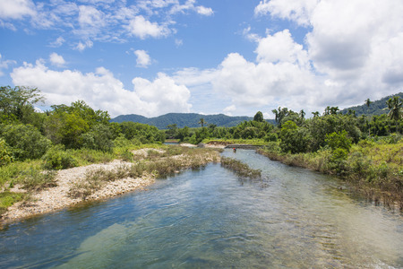 downstream: Glacier Emerald, Kuraburi district, Phang-nga, Thailand, beautiful canal Stock Photo