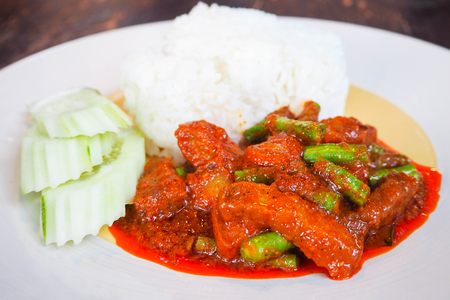 savour: stir-fried pork and red curry paste, Moo pad prik gaeng Stock Photo