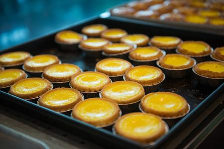 delicious egg tart on tray, Hong Kong food Archivio Fotografico