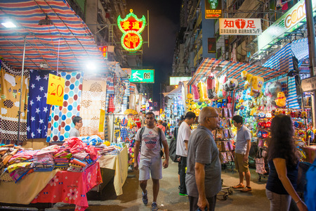 walk in closet: Mong Kok, Hong Kong - September 24, 2016 : Ladies market - Popular Market in Hong Kong, Landmark