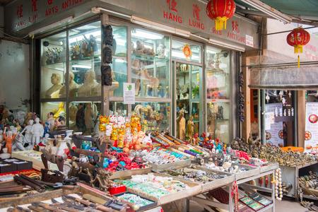 antiques: Sheung Wan, Hong Kong - September 22, 2016 : Antiques shop at Upper Lascar Row or Cat street in Hong Kong, Travel