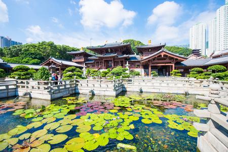 pool halls: Kowloon, Hong Kong - September 23, 2016 : Chi Lin Nunnery, beautiful and peaceful place in Hong Kong, Landmark