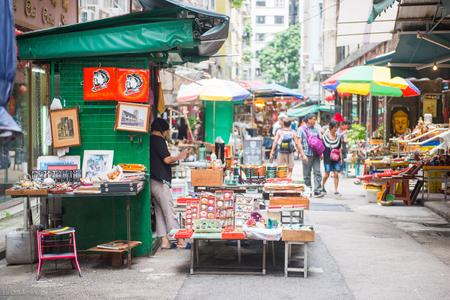Sheung Wan, Hong Kong - September 22, 2016 : Antiques shop at Upper Lascar Row or Cat street in Hong Kong, Travel