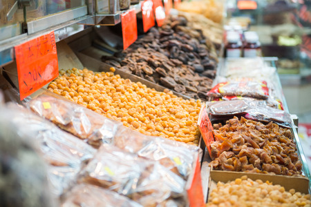 dried fruits for cooking in store, raw meterial