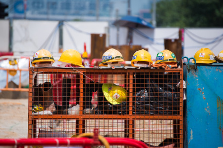 yellow helmet: yellow helmet for worker in construction site , hat