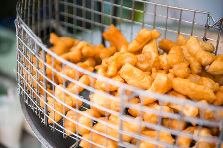 asian flavors: Patongko fried for sale in market, food
