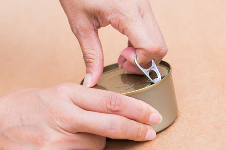 ring pull: open canned fish by ring pull, canned food