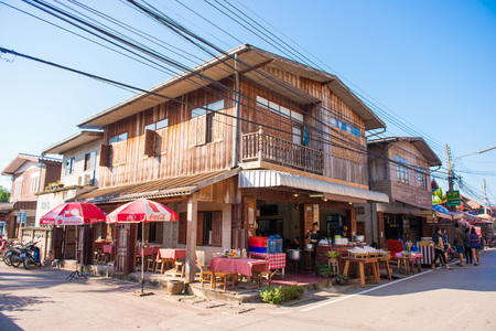 loei: Loei, Thailand - November 26, 2016 :The old wooden houses in walking street market of Chiang Khan at Loei, Thailand