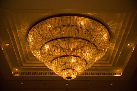 ceiling crystal chandelier in luxury room, lamp