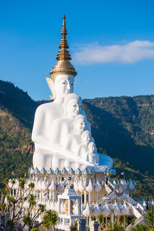 Phetchabun, Thailand - November 27, 2016 :Beautiful White Big Buddha statue on Khao Kho mountain at Wat Pha Sorn Kaew temple, Phetchabun, Thailand