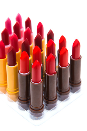 prettify: set of lipsticks red color on white background, lip