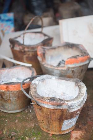 kitchen tool: Old brazier on ground, Thai stove