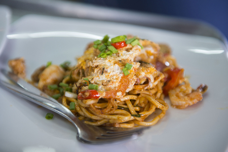 fried noodle: fried noodle with shrimp and egg , Thai food Stock Photo
